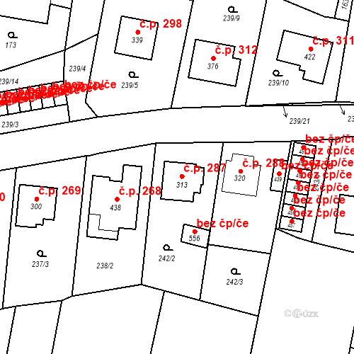 Katastrální mapa Stavební objekt Bernartice 287, Bernartice