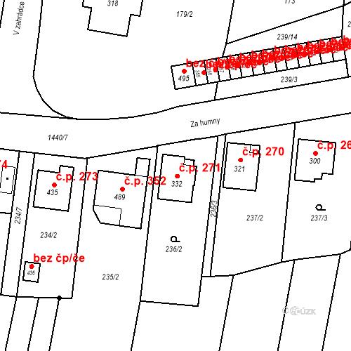 Katastrální mapa Stavební objekt Bernartice 271, Bernartice