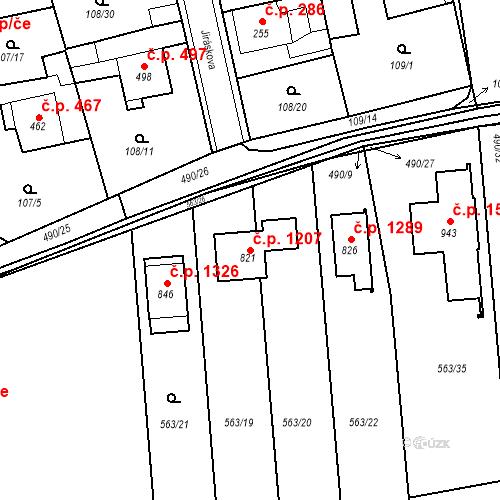 Katastrální mapa Stavební objekt Rudná 1207, Rudná