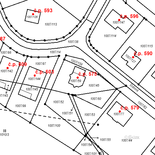 Katastrální mapa Stavební objekt Neštěmice 575, Ústí nad Labem