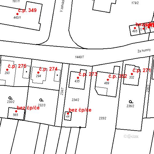 Katastrální mapa Stavební objekt Bernartice 273, Bernartice