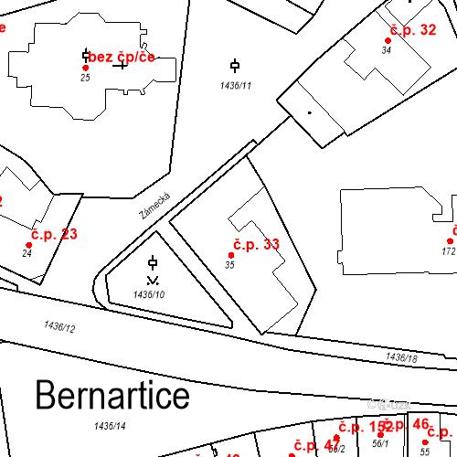Katastrální mapa Stavební objekt Bernartice 33, Bernartice