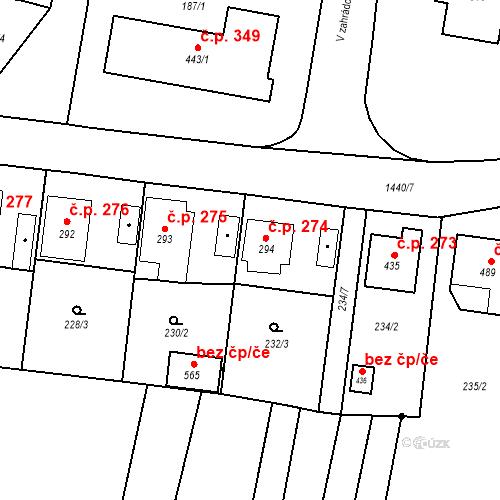 Katastrální mapa Stavební objekt Bernartice 274, Bernartice