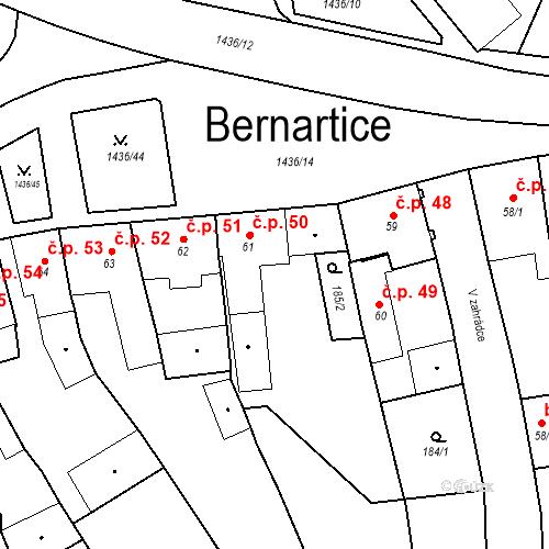 Katastrální mapa Stavební objekt Bernartice 50, Bernartice