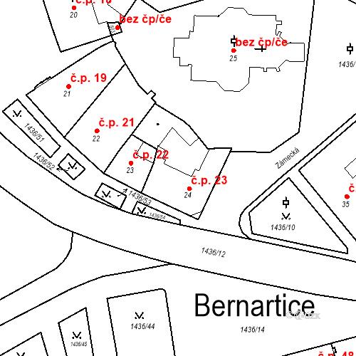 Katastrální mapa Stavební objekt Bernartice 23, Bernartice