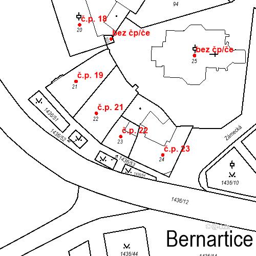 Katastrální mapa Stavební objekt Bernartice 22, Bernartice
