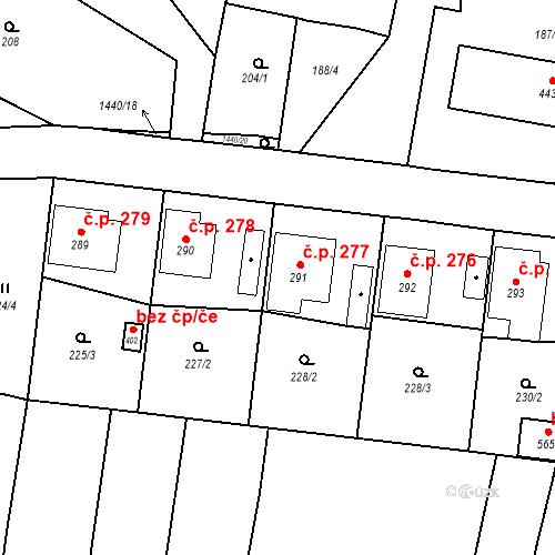 Katastrální mapa Stavební objekt Bernartice 277, Bernartice