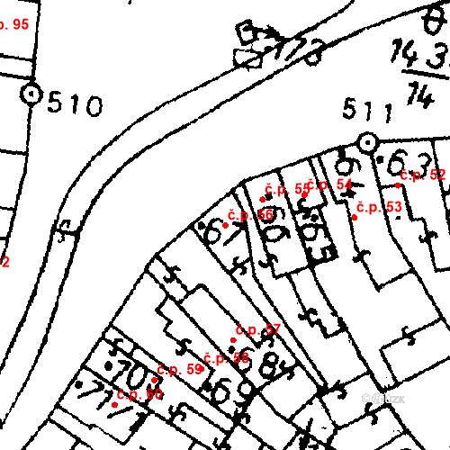 Katastrální mapa Stavební objekt Bernartice 56, Bernartice