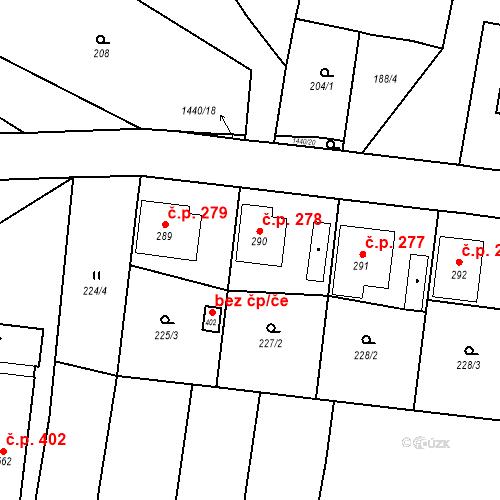 Katastrální mapa Stavební objekt Bernartice 278, Bernartice