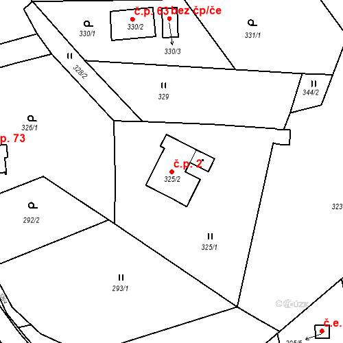 Katastrální mapa Stavební objekt Ryjice 2, Ryjice