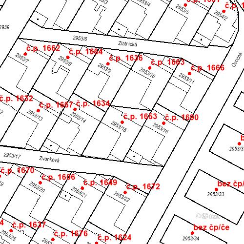 Katastrální mapa Stavební objekt České Budějovice 7 1653, České Budějovice
