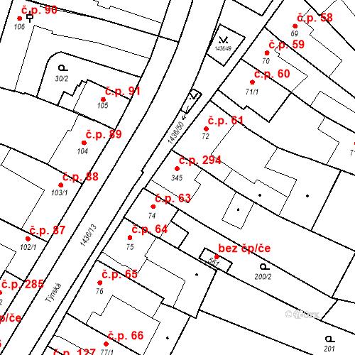Katastrální mapa Stavební objekt Bernartice 294, Bernartice