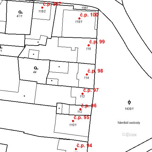 Katastrální mapa Stavební objekt Bernartice 98, Bernartice