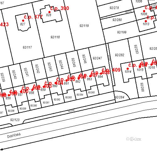 Katastrální mapa Stavební objekt Nučice 407, Nučice