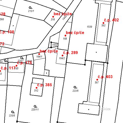 Katastrální mapa Stavební objekt Bernartice 289, Bernartice