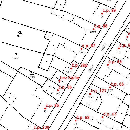 Katastrální mapa Stavební objekt Bernartice 285, Bernartice