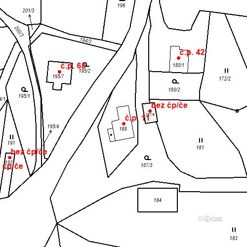 Katastrální mapa Stavební objekt Ryjice 11, Ryjice