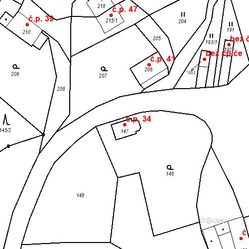 Katastrální mapa Stavební objekt Ryjice 34, Ryjice