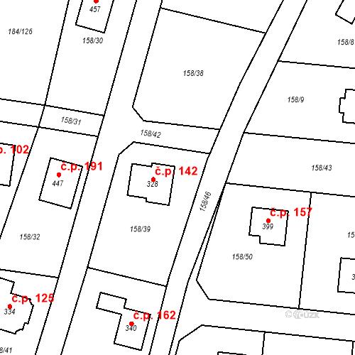 Katastrální mapa Stavební objekt Velká Hraštice 142, Malá Hraštice