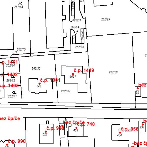 Katastrální mapa Stavební objekt Rudná 1419, Rudná