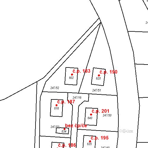 Katastrální mapa Stavební objekt Malá Hraštice 183, Malá Hraštice