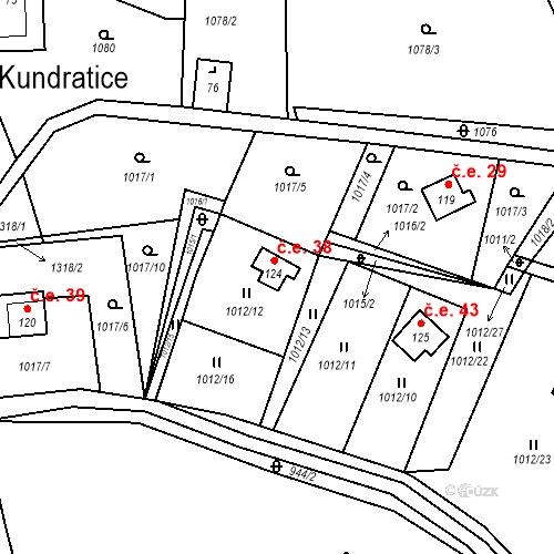 Katastrální mapa Stavební objekt Kundratice 38, Hlinná