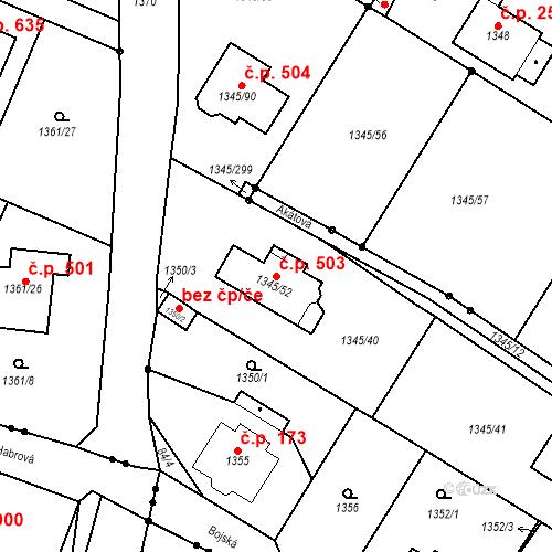 Katastrální mapa Stavební objekt Pokratice 503, Litoměřice