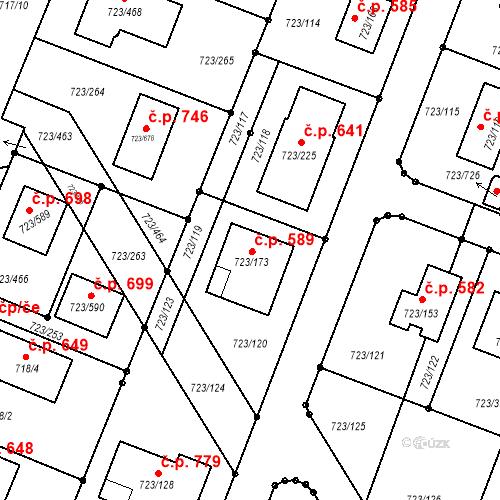 Katastrální mapa Stavební objekt Včelná 589, Včelná