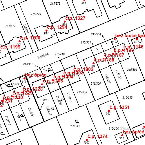 Katastrální mapa Stavební objekt Rudná 1202, Rudná