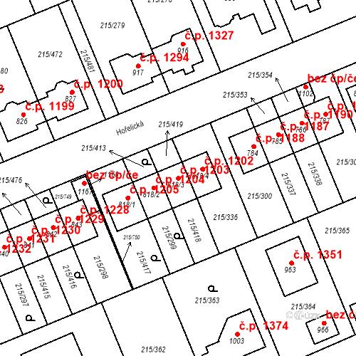Katastrální mapa Stavební objekt Rudná 1203, Rudná