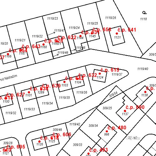 Katastrální mapa Stavební objekt Nučice 632, Nučice