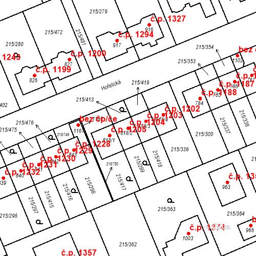 Katastrální mapa Stavební objekt Rudná 1204, Rudná
