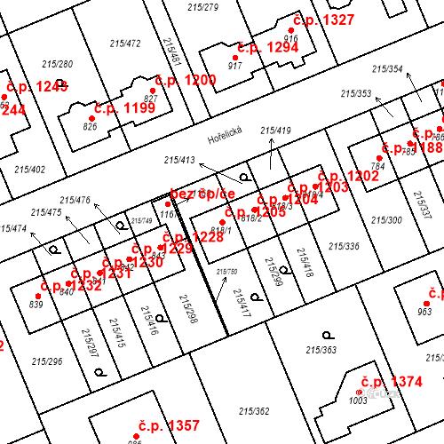 Katastrální mapa Stavební objekt Rudná 1205, Rudná