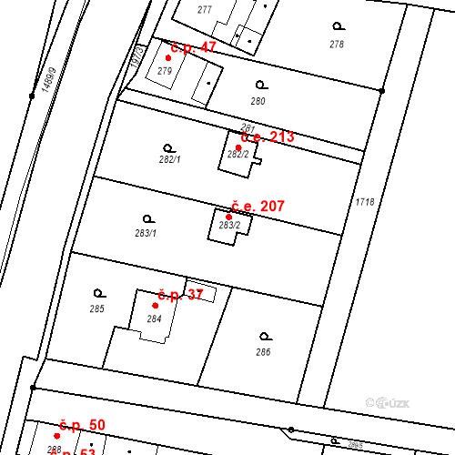 Katastrální mapa Stavební objekt Planá 207, Planá