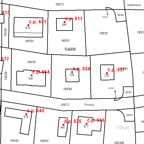Katastrální mapa Stavební objekt Chýně 534, Chýně