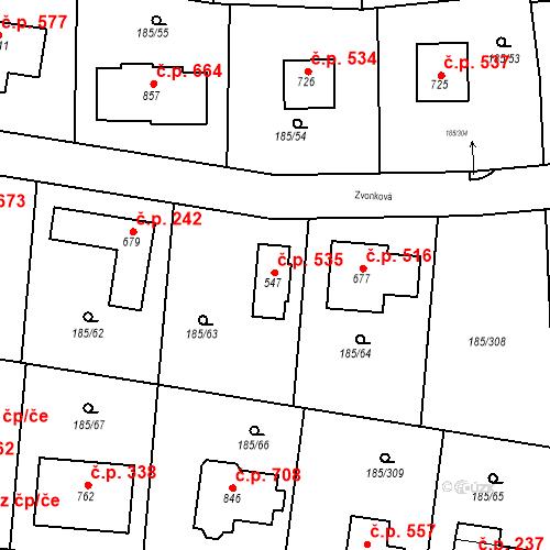 Katastrální mapa Stavební objekt Chýně 535, Chýně