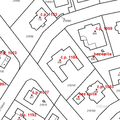 Katastrální mapa Stavební objekt Rudná 1184, Rudná