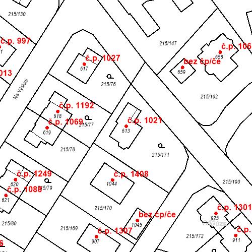 Katastrální mapa Stavební objekt Rudná 1021, Rudná