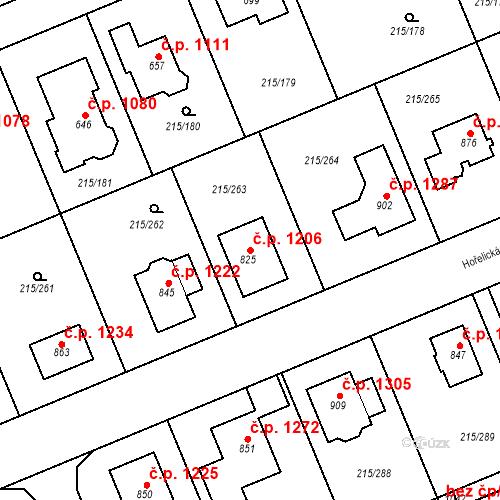 Katastrální mapa Stavební objekt Rudná 1206, Rudná