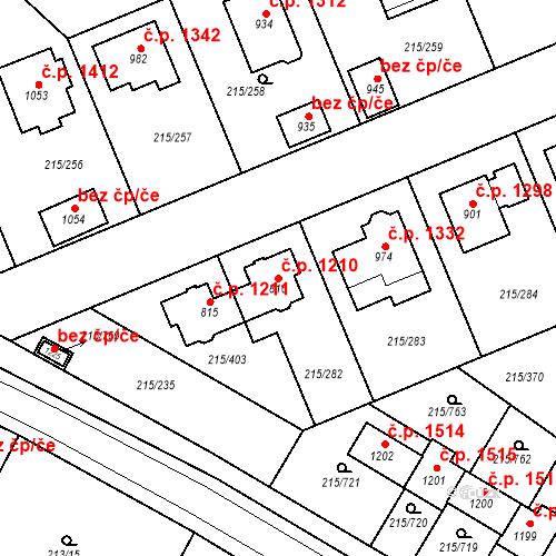 Katastrální mapa Stavební objekt Rudná 1210, Rudná