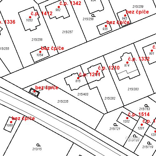 Katastrální mapa Stavební objekt Rudná 1211, Rudná