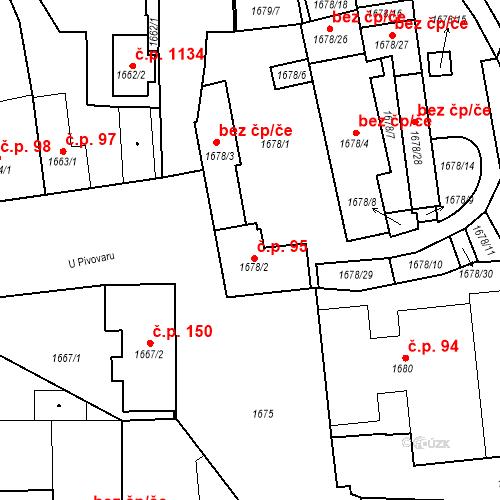 Katastrální mapa Stavební objekt Buštěhrad 95, Buštěhrad