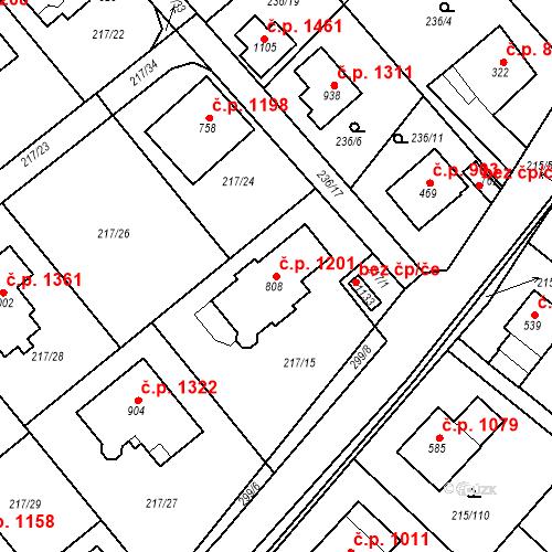Katastrální mapa Stavební objekt Rudná 1201, Rudná