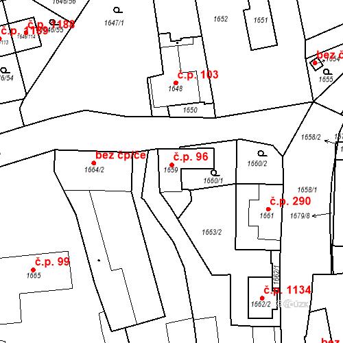 Katastrální mapa Stavební objekt Buštěhrad 96, Buštěhrad