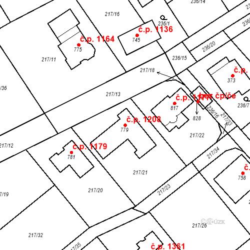 Katastrální mapa Stavební objekt Rudná 1208, Rudná