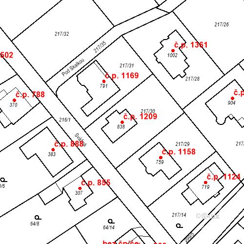 Katastrální mapa Stavební objekt Rudná 1209, Rudná