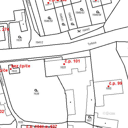 Katastrální mapa Stavební objekt Buštěhrad 101, Buštěhrad