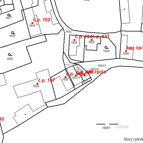 Katastrální mapa Stavební objekt Buštěhrad 105, Buštěhrad