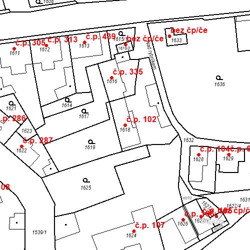 Katastrální mapa Stavební objekt Buštěhrad 102, Buštěhrad