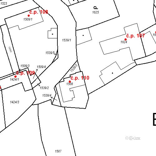 Katastrální mapa Stavební objekt Buštěhrad 110, Buštěhrad
